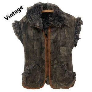 vintage patchwork leather fur vest